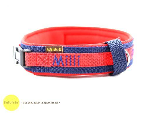 2,5 cm breit - Premium Halsband mit Name, Telefonnummer bestickt