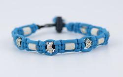 Schmuckkette mit EM Keramik Pipes - Beads Seestern/Steuerrad 36-38 cm
