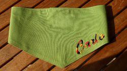 Hundehalstuch mit Namen bestickt - Dreifarbig gelb/schwarz/rot